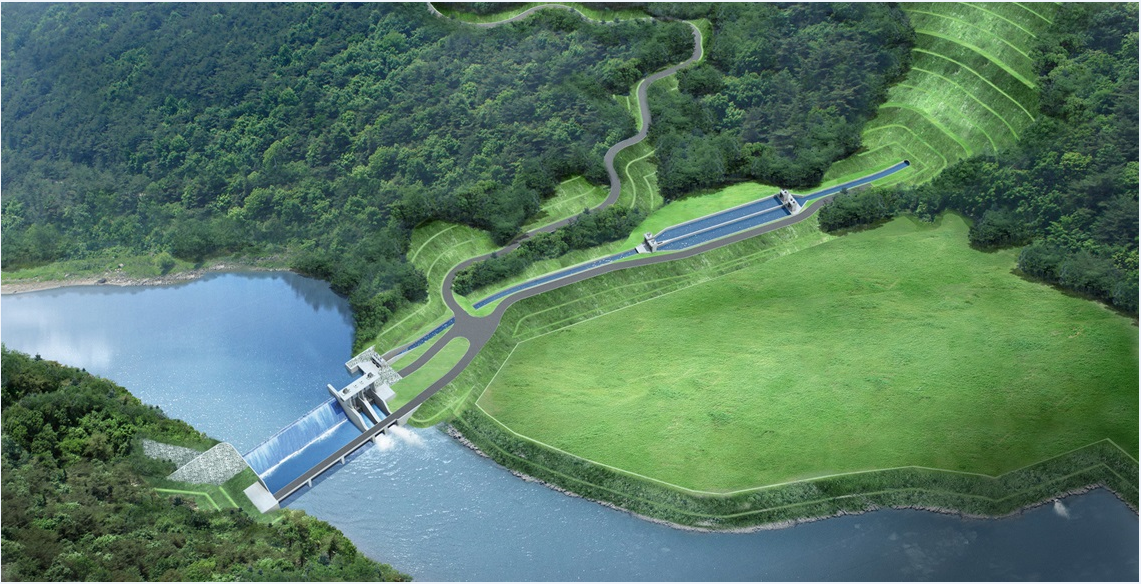 Bird's eye view of Hasang Hydroelectric power plant in Indonesia